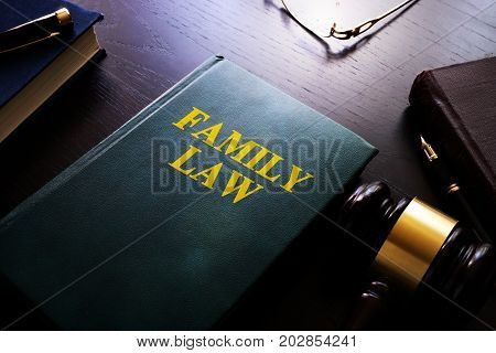 Family law on a table. Child custody and divorce concept.