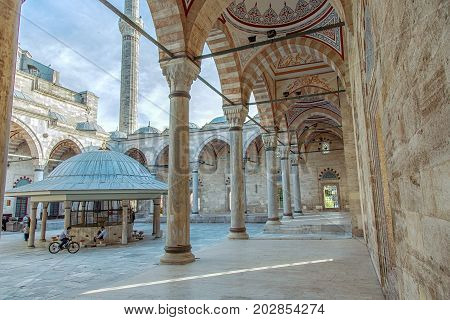ISTANBUL, TURKEY - APRIL 30, 2017: Cortyard of Yavuz Selim Mosque Selim I Mosque . The Yavuz Selim Mosque is the second oldest existent imperial mosque in Istanbul, it was built in 1520-1528