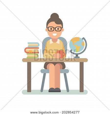 Young teacher sitting at the desk with a pile of books and a globe. Teacher's Day. Back to school