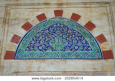 ISTANBUL, TURKEY - APRIL 30, 2017: Detail of Yavuz Selim Mosque Selim I Mosque . The Yavuz Selim Mosque is the second oldest existent imperial mosque in Istanbul, it was built in 1520-1528