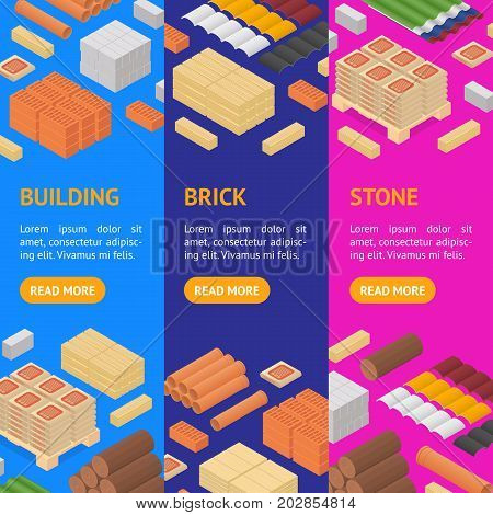 Construction Material Banner Vecrtical Set Isometric View Supply for Renovation of Buildings Design Element Web. Vector illustration