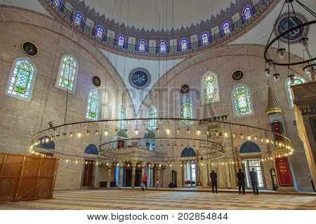 ISTANBUL, TURKEY - APRIL 30, 2017: Interior of Yavuz Selim Mosque Selim I Mosque . The Yavuz Selim Mosque is the second oldest existent imperial mosque in Istanbul, it was built in 1520-1528