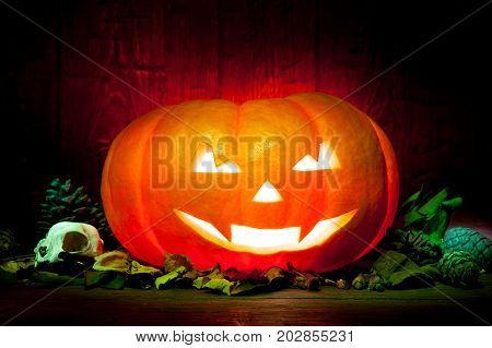 Scary Halloween Pumpkin On A Red Wooden Background