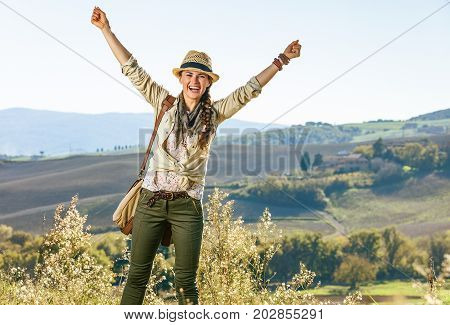 Smiling Active Woman Hiker On Tuscany Hike Rejoicing