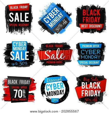 Black friday and cyber monday sale banner with big discount and best offers. Price tags with grunge brush texture and frames. Vector discount banner price collection illustration