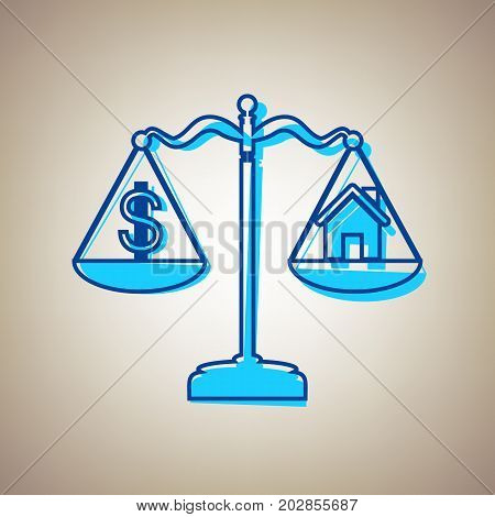 House and dollar symbol on scales. Vector. Sky blue icon with defected blue contour on beige background.