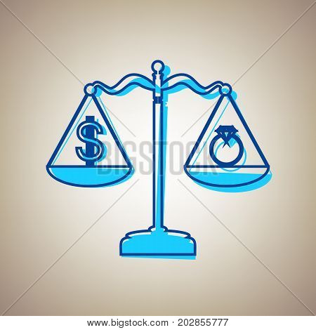 Ring jewelery and dollar symbol on scales. Vector. Sky blue icon with defected blue contour on beige background.