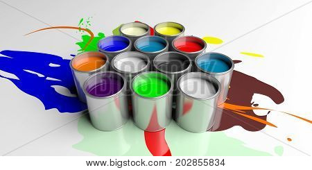 Colorful Paint Cans On White Background, 3D Illustration
