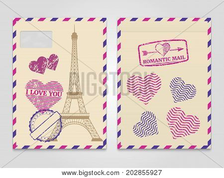Vintage romantic envelopes with Eiffel tower and love stamps. Travel postcard romantic mail envelope. Vector illustration