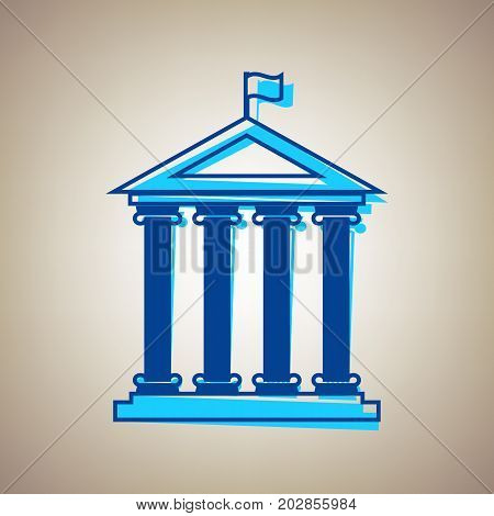 Historical building with flag. Vector. Sky blue icon with defected blue contour on beige background.