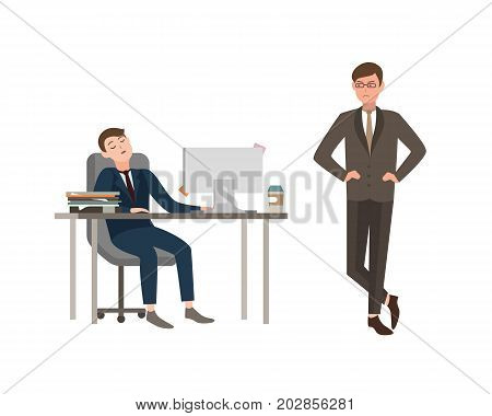 Office worker dressed in business suit sits at desk with computer and sleeps, his boss angrily looks at him. Concept of fatigue at work. Cartoon vector illustration.
