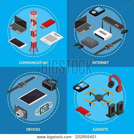 Technology Devices Poster Card Set Isometric View Electronic Equipment Gadget and Tower Mobile Phone Base for Web. Vector illustration