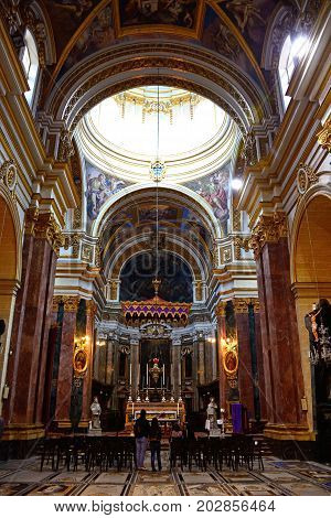MDINA, MALTA - MARCH 29, 2017 - View inside St Pauls Cathedral also known as Mdina Cathedral Mdina Malta Europe, March 29, 2017.