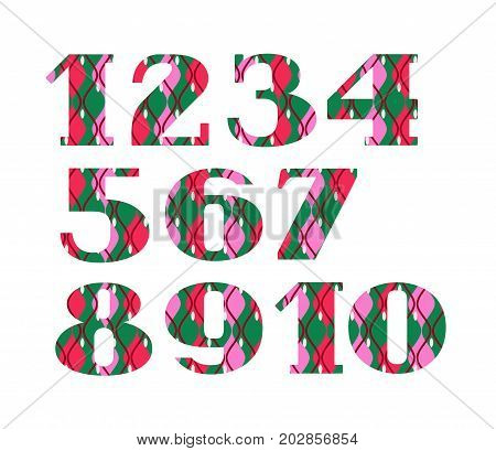 Figures, decorative geometric pattern, green-red, vector. Figures with serifs. Pink and red wavy geometric elements on a green background.