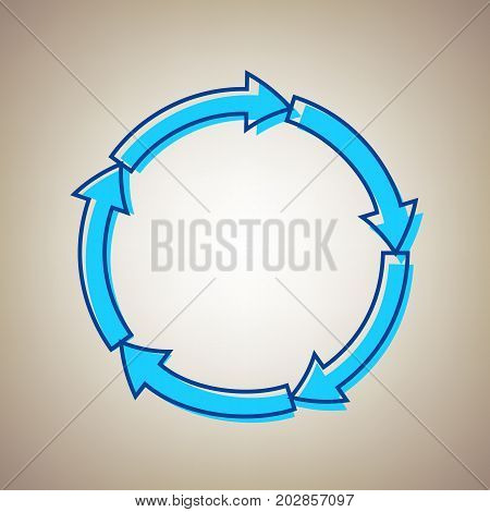 Circular arrows sign. Vector. Sky blue icon with defected blue contour on beige background.