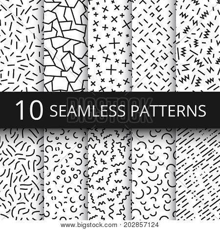 Funky memphis seamless vector patterns. 80s and 90s school fashion black and white texture backgrounds with simple geometric shapes. Background with abstract elements zigzag and curve illustration