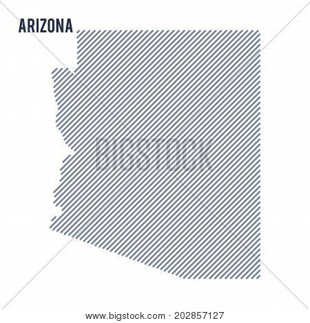 Vector Abstract Hatched Map Of State Of Arizona With Oblique Lines Isolated On A White Background.