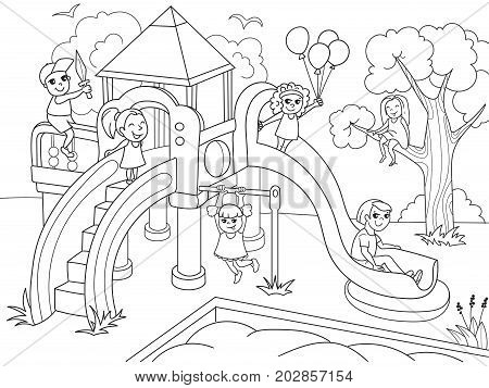 Childrens playground coloring. Vector illustration of black and white. Children, sand, slides, ball, bird, game background house grass bush flower swing sword