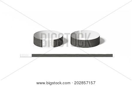 Blank black paper wristbands mock ups front and back side view 3d rendering. Empty event wrist bands design mockup. Cheap hand bracelets template isolated. Clear concert bangle wristlet set.