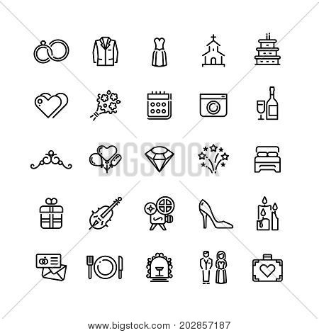 Romance wedding celebration and love in marriage vector line icons. Wedding and marriage linear icons set illustration
