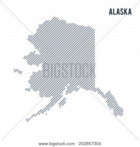 Vector Abstract Hatched Map Of State Of Alaska With Oblique Lines Isolated On A White Background.