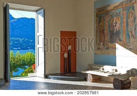 Bellagio Italy - August 31 2010: A hall of Villa Melzi on the Como lake