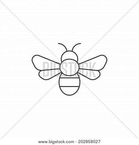 Simple bee icon, outline icon, bee sign and symbol