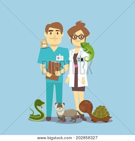 Flat veterinarian and exotic pets isolated on white. Veterinarian medical with snake and lizard. Vector illustration