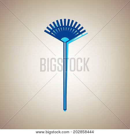 Lawn rake sign. Vector. Sky blue icon with defected blue contour on beige background.