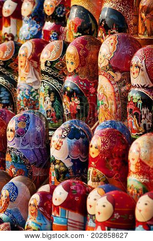 Matryoshka nesting dolls lined up Russian nesting dolls, souvenirs from Russia, wooden dolls, different traditional dress