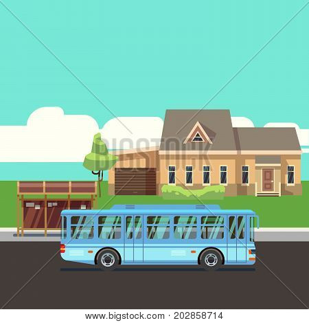 Residential house with bus stop and blue bus. Flat vector illustraion. Home and bus on road, infrastructure transportation