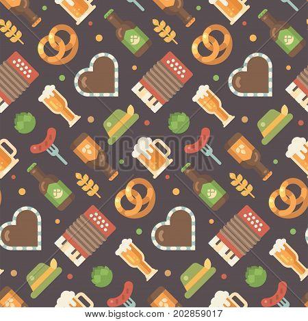 Oktoberfest flat icons pattern. Beer festival pattern on dark background. Gingerbread heart accordion sausage on a fork beer mug beer bottle hop hat pretzel wheat