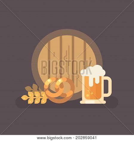 Beer barrel pretzel wheat and beer mug. Oktoberfest beer festival flat illustration