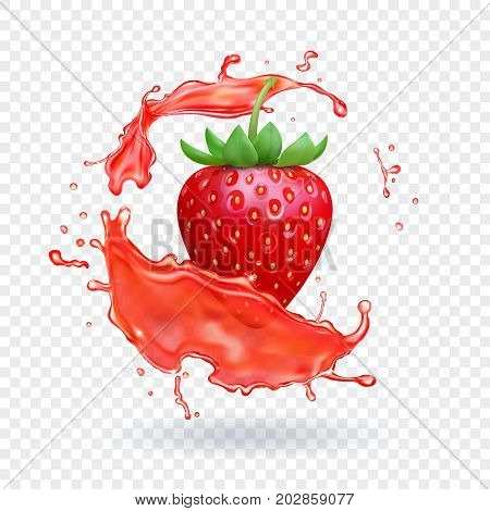 Strawberry fresh juice. Fruit realistic vector icon.