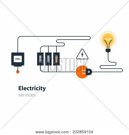Electricity graphic elements. Light bulb, swich, plug icons. Electric meter. Flat design vector illustration