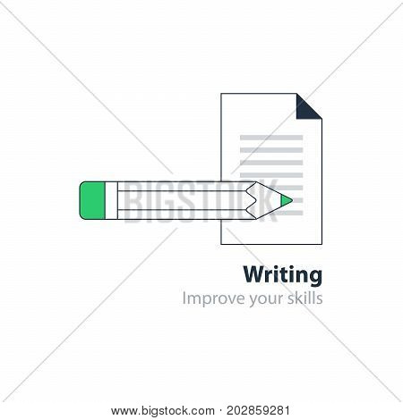 Writing education concept icon. Creative story tellig. Flat design vector illustration