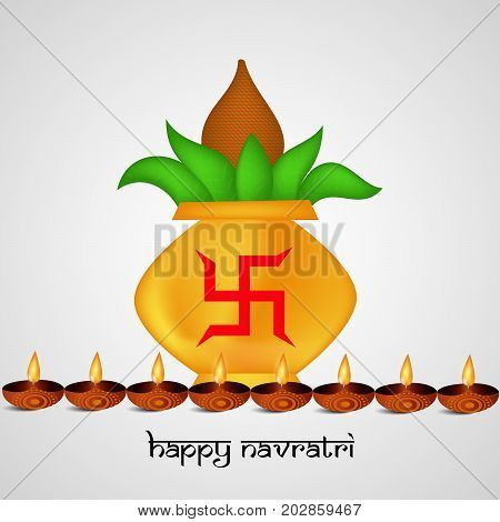 illustration of Kalash in hinduism sign swastik background and lamps with Happy Navratri text on the occasion of hindu festival Navratri