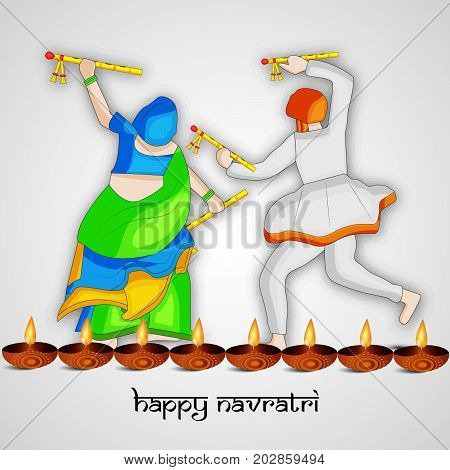 illustration of people doing dandiya dance and lamps with Happy Navratri text on the occasion of hindu festival Navratri