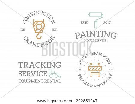 Set of retro vintage construction, crane hook, paint roller, excavator, fence logo or insignia, emblems, labels and badges and other branding objects. Vector line style