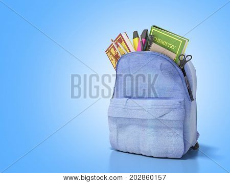 Blue Backpack With School Supplies 3D Render On Blue