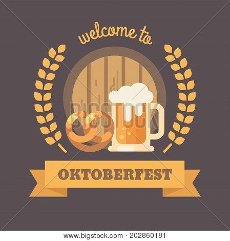 Welcome to Oktoberfest. Beer barrel pretzel wheat and beer mug. Oktoberfest beer festival flat illustration banner