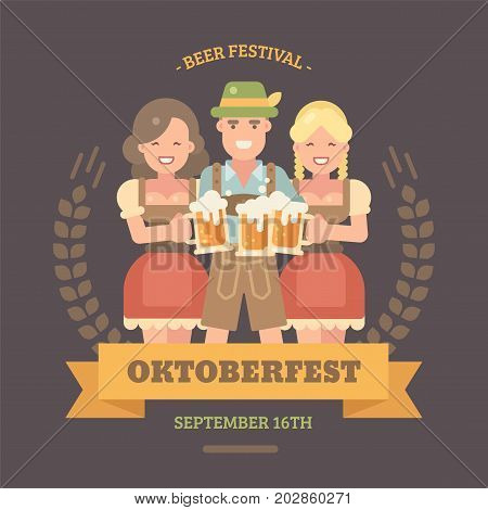 Oktoberfest flat illustration banner. Man in lederhosen and hat with two girls in dirndl dresses holding beer mugs. Cheers! Happy people drinking beer. Craft beer festival poster