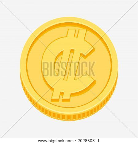 Costa Rican and Salvadoran colon currency symbol on gold coin, money sign vector illustration isolated on white background