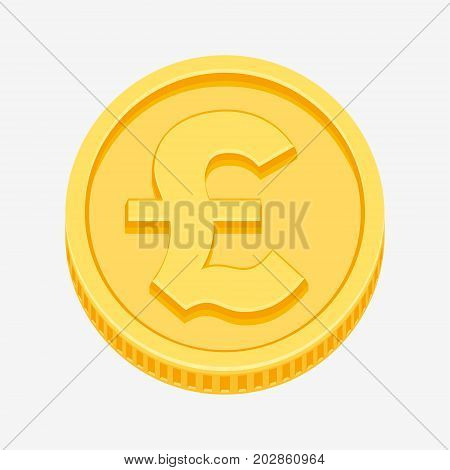 British pound sterling currency symbol on gold coin, money sign vector illustration isolated on white background