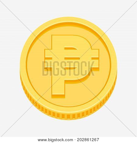 Philippine peso currency symbol on gold coin, money sign vector illustration isolated on white background