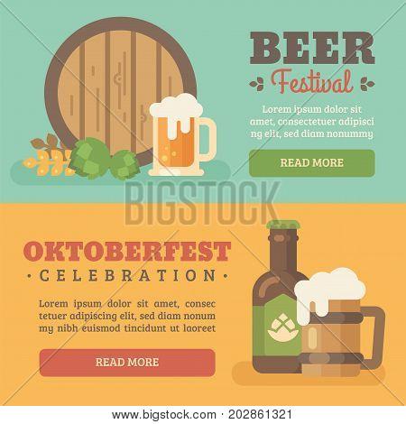Two colorful beer festival banners. Beer barrel wheat hop beer mug beer bottle. Oktoberfest flat illustration