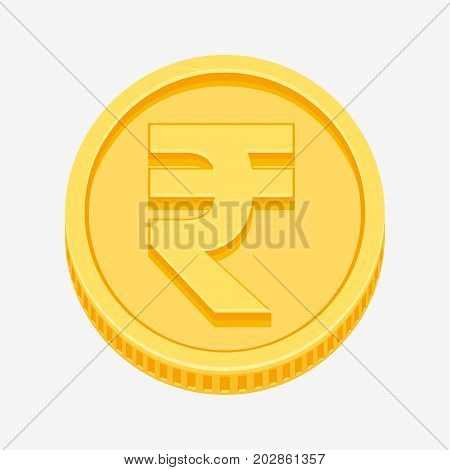 Indian rupees currency symbol on gold coin, money sign vector illustration isolated on white background