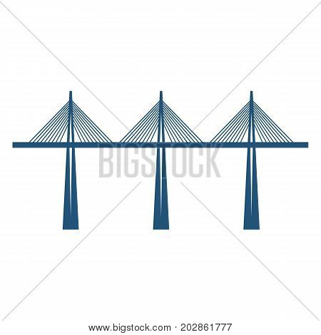 Cable-stayed bridge on three supports blue silhouette vector illustration isolated on white background. Structure carrying road or railroad, canal across a river