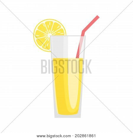 Lemonade in a glass with a slice of lemon isolated on a white background. Vector illustration.