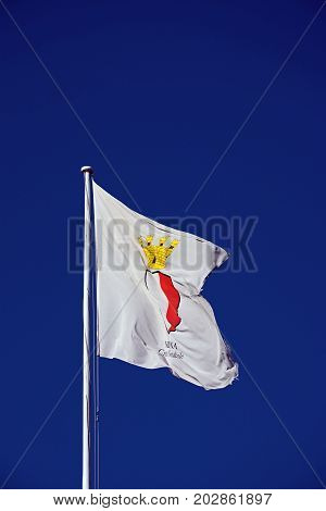 MDINA, MALTA - MARCH 29, 2017 - Town Gate flag also known as the Mdina Gate Mdina Malta Europe, March 29, 2017.